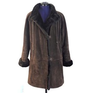 Gallery Brown Leather Suede Faux Fur Winter Jacket
